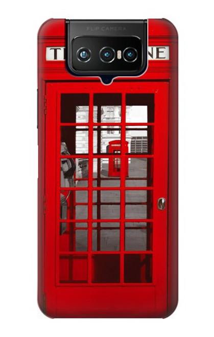 W0058 British Red Telephone Box Funda Carcasa Case y Caso Del Tirón Funda para ASUS ZenFone 7 Pro