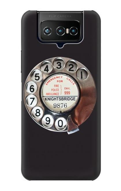 W0059 Retro Rotary Phone Dial On Funda Carcasa Case y Caso Del Tirón Funda para ASUS ZenFone 7 Pro