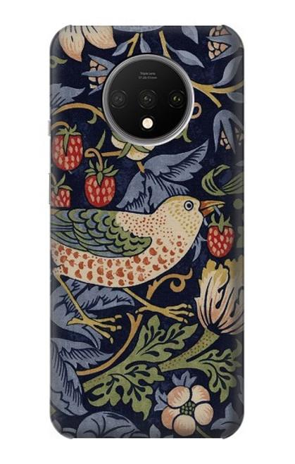 W3791 William Morris Strawberry Thief Fabric Funda Carcasa Case y Caso Del Tirón Funda para OnePlus 7T