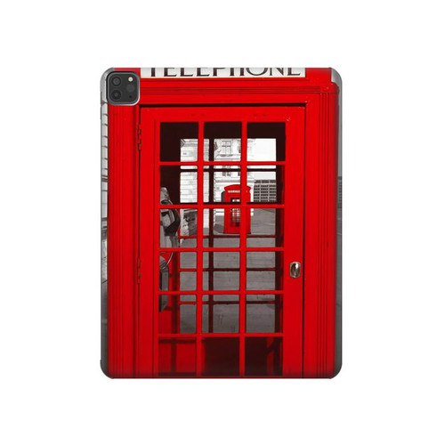 W0058 British Red Telephone Box Tablet Funda Carcasa Case para iPad Pro 11 (2018,2020), iPad Air 4 (2020), iPad Air (2020)