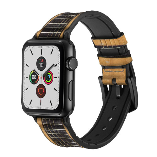 CA0001 Acoustic Guitar Leather & Silicone Smart Watch Band Strap For Apple Watch iWatch