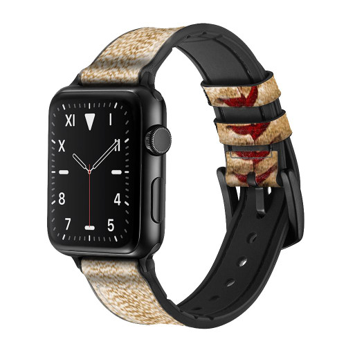CA0005 Baseball Leather & Silicone Smart Watch Band Strap For Apple Watch iWatch