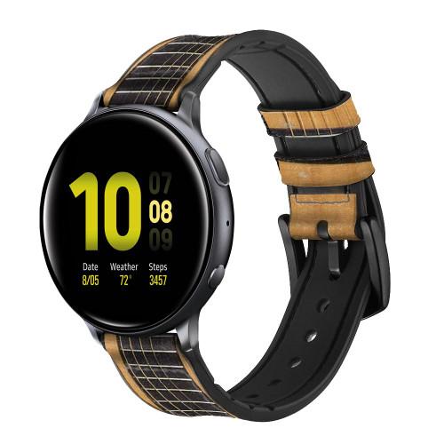 CA0001 Acoustic Guitar Correa de reloj inteligente de silicona y cuero para Samsung Galaxy Watch, Gear, Active