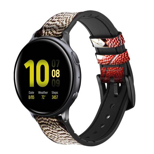 CA0003 American Football Correa de reloj inteligente de silicona y cuero para Samsung Galaxy Watch, Gear, Active