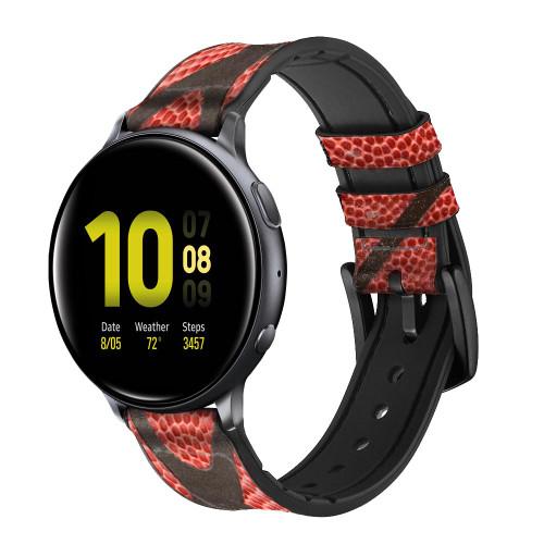 CA0006 Basketball Correa de reloj inteligente de silicona y cuero para Samsung Galaxy Watch, Gear, Active