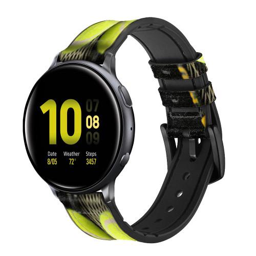 CA0008 Tennis Correa de reloj inteligente de silicona y cuero para Samsung Galaxy Watch, Gear, Active