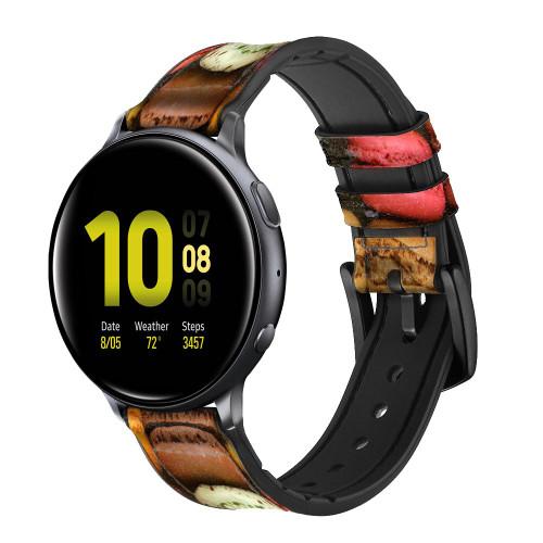 CA0009 Macarons Correa de reloj inteligente de silicona y cuero para Samsung Galaxy Watch, Gear, Active
