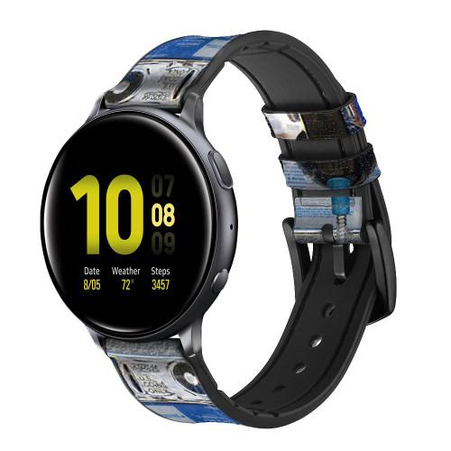CA0012 Payphone Correa de reloj inteligente de silicona y cuero para Samsung Galaxy Watch, Gear, Active