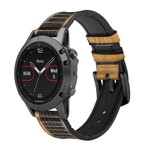 CA0001 Acoustic Guitar Correa de reloj inteligente de silicona y cuero para Garmin Smartwatch
