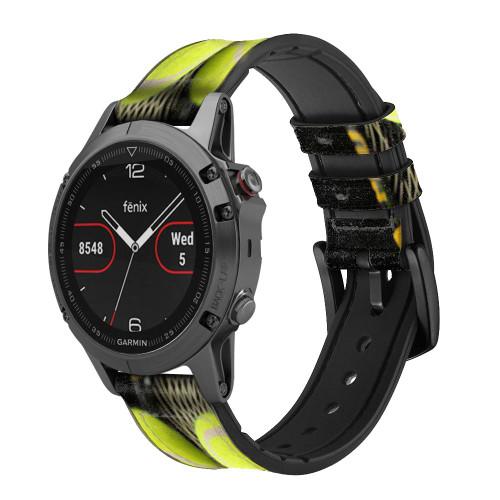 CA0008 Tennis Correa de reloj inteligente de silicona y cuero para Garmin Smartwatch