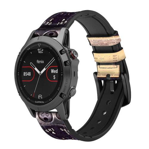 CA0011 Payphone Vintage Correa de reloj inteligente de silicona y cuero para Garmin Smartwatch