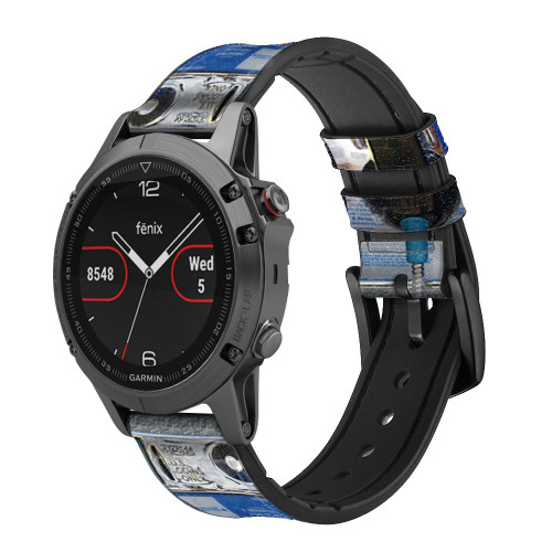 CA0012 Payphone Correa de reloj inteligente de silicona y cuero para Garmin Smartwatch