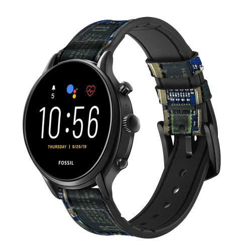 CA0004 Curcuid Board Correa de reloj inteligente de silicona y cuero para Fossil Smartwatch