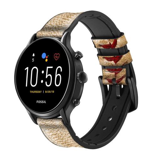 CA0005 Baseball Correa de reloj inteligente de silicona y cuero para Fossil Smartwatch