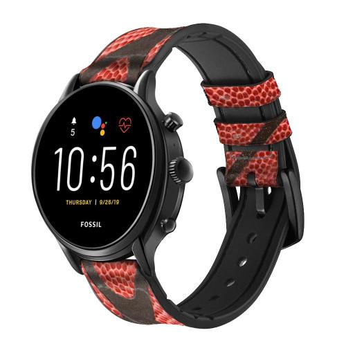CA0006 Basketball Correa de reloj inteligente de silicona y cuero para Fossil Smartwatch