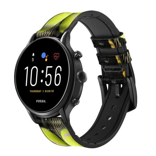 CA0008 Tennis Correa de reloj inteligente de silicona y cuero para Fossil Smartwatch