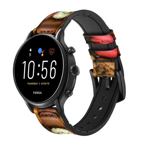 CA0009 Macarons Correa de reloj inteligente de silicona y cuero para Fossil Smartwatch