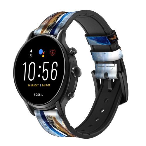 CA0010 Turtle in the Rain Correa de reloj inteligente de silicona y cuero para Fossil Smartwatch