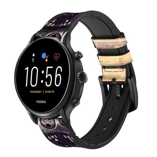 CA0011 Payphone Vintage Correa de reloj inteligente de silicona y cuero para Fossil Smartwatch