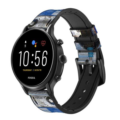 CA0012 Payphone Correa de reloj inteligente de silicona y cuero para Fossil Smartwatch