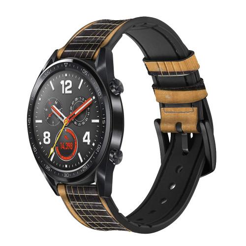 CA0001 Acoustic Guitar Correa de reloj inteligente de silicona y cuero para Wristwatch Smartwatch