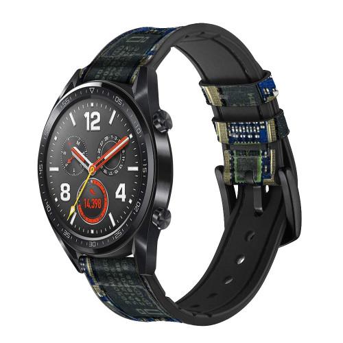 CA0004 Curcuid Board Correa de reloj inteligente de silicona y cuero para Wristwatch Smartwatch