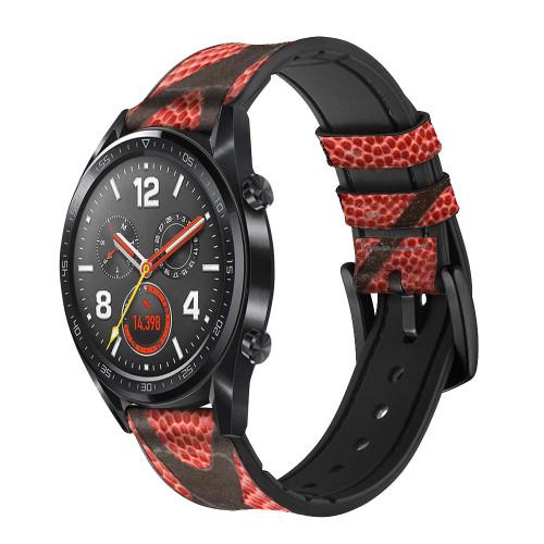 CA0006 Basketball Correa de reloj inteligente de silicona y cuero para Wristwatch Smartwatch