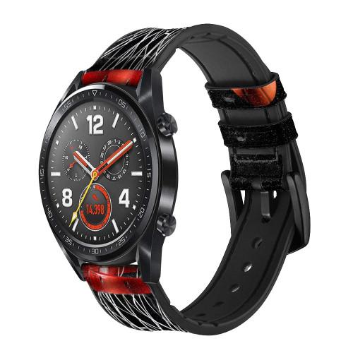CA0007 Basketball Correa de reloj inteligente de silicona y cuero para Wristwatch Smartwatch