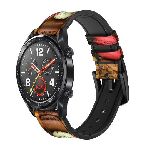 CA0009 Macarons Correa de reloj inteligente de silicona y cuero para Wristwatch Smartwatch