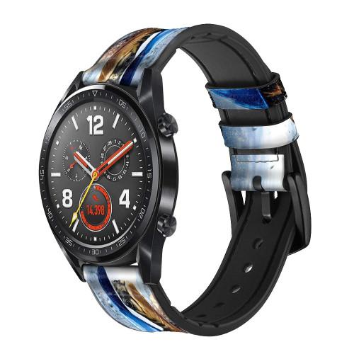 CA0010 Turtle in the Rain Correa de reloj inteligente de silicona y cuero para Wristwatch Smartwatch