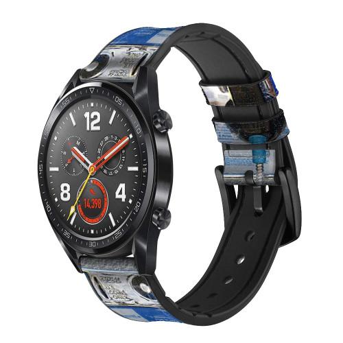 CA0012 Payphone Correa de reloj inteligente de silicona y cuero para Wristwatch Smartwatch