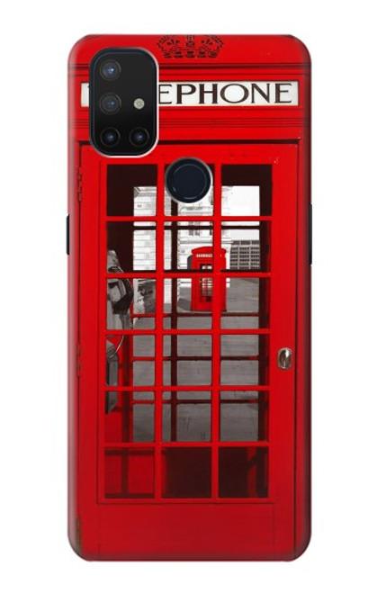 W0058 British Red Telephone Box Funda Carcasa Case y Caso Del Tirón Funda para OnePlus Nord N10 5G