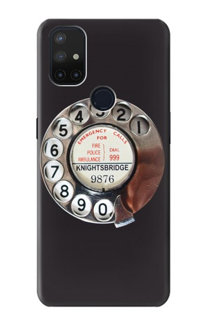 W0059 Retro Rotary Phone Dial On Funda Carcasa Case y Caso Del Tirón Funda para OnePlus Nord N10 5G