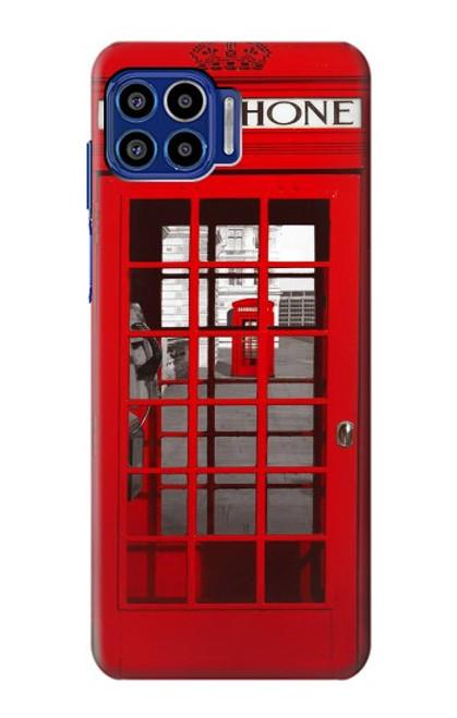 W0058 British Red Telephone Box Funda Carcasa Case y Caso Del Tirón Funda para Motorola One 5G