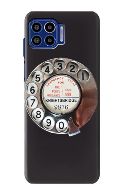 W0059 Retro Rotary Phone Dial On Funda Carcasa Case y Caso Del Tirón Funda para Motorola One 5G