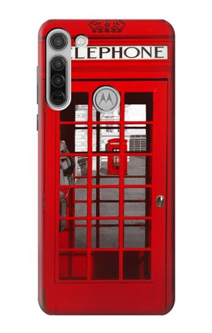 W0058 British Red Telephone Box Funda Carcasa Case y Caso Del Tirón Funda para Motorola Moto G8
