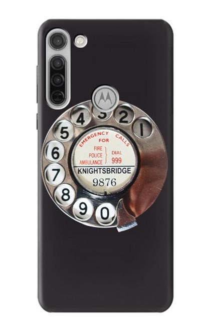 W0059 Retro Rotary Phone Dial On Funda Carcasa Case y Caso Del Tirón Funda para Motorola Moto G8