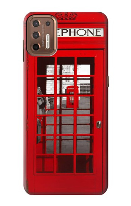 W0058 British Red Telephone Box Funda Carcasa Case y Caso Del Tirón Funda para Motorola Moto G9 Plus