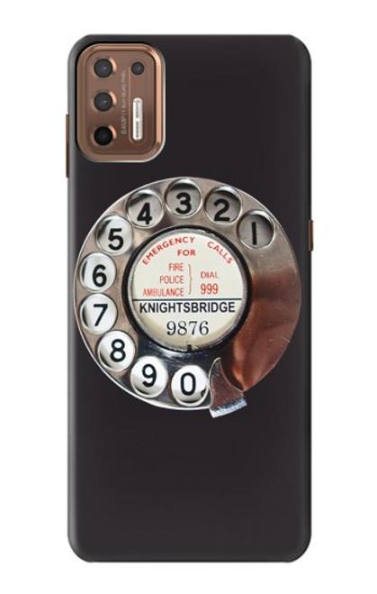W0059 Retro Rotary Phone Dial On Funda Carcasa Case y Caso Del Tirón Funda para Motorola Moto G9 Plus