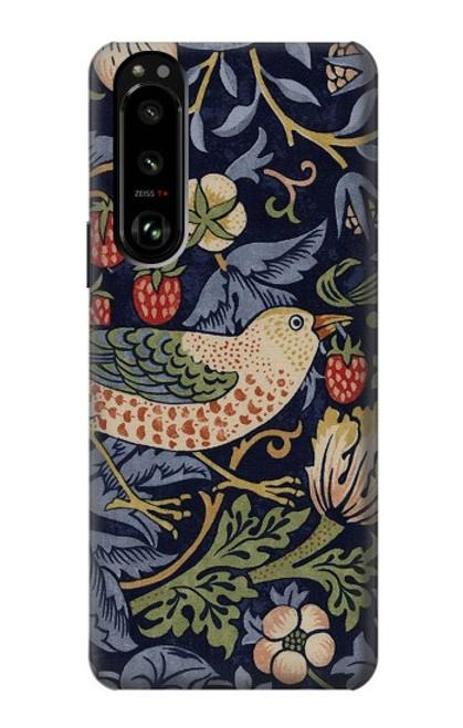 W3791 William Morris Strawberry Thief Fabric Funda Carcasa Case y Caso Del Tirón Funda para Sony Xperia 5 III
