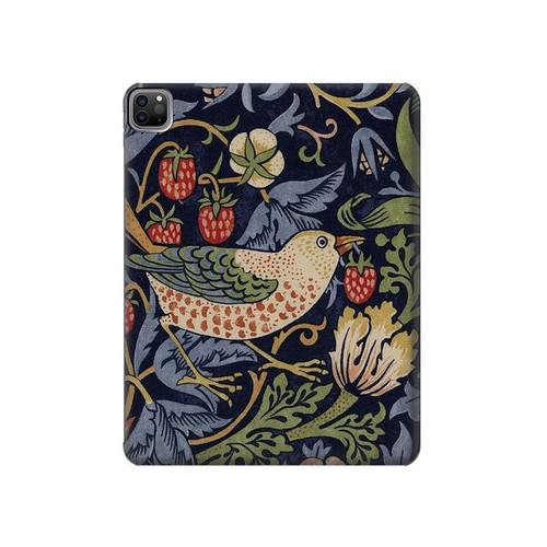 W3791 William Morris Strawberry Thief Fabric Funda Carcasa Case para iPad Pro 12.9 (2021)