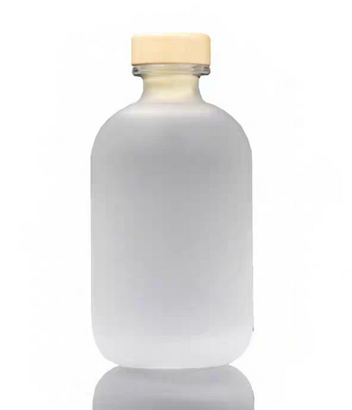 ROUND LIQUOR GLASS BOTTLE-10 CLEAR WITH WOOD BAR TOP CORK-01 250ML 500ML