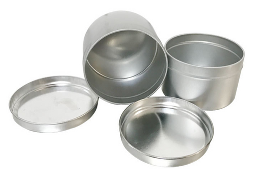 FROSTED SILVER 2-PIECE TIN ROUND BOX (CV-180x50)