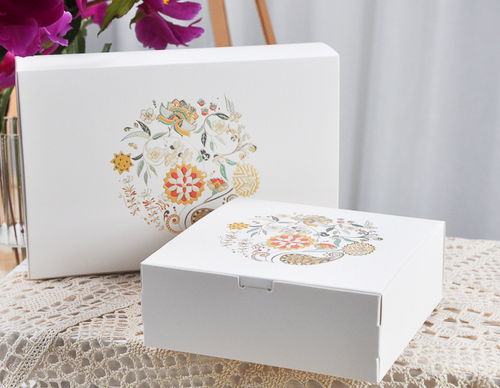 WHITE/ 4-COMPARTMENT/ 6-COMPARTMENT/ PAPER CAKE BOX WITH FLOWERS (FLW1)