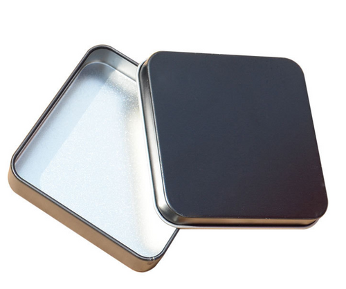 FROSTED BLACK/ SILVER 2-PIECE TIN SQUARE BOX (CV1)