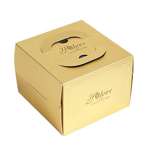 GOLD PAPER CAKE BOX WITH HANDLE (HND1)