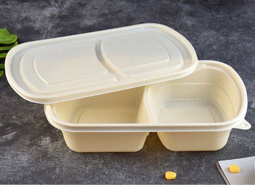 BEIGE 2-COMPARTMENT BIODEGRADABLE RECTANGLE LUNCH BOX (BDB1) LID