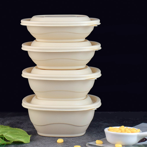 BEIGE DISPOSABLE BIODEGRADABLE ROUND LUNCH BOX (BDB 3) LID