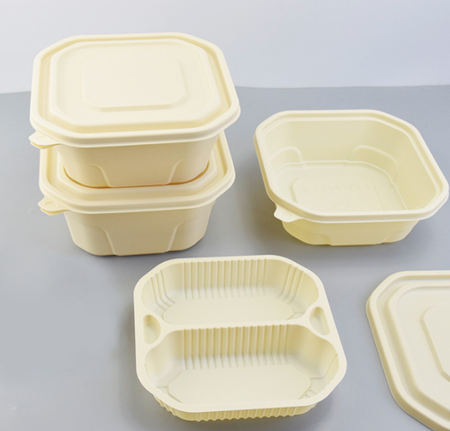 BEIGE DISPOSABLE BIODEGRADABLE SQUARE LUNCH BOX  (BDB 6) LID/ COMPARTMENT