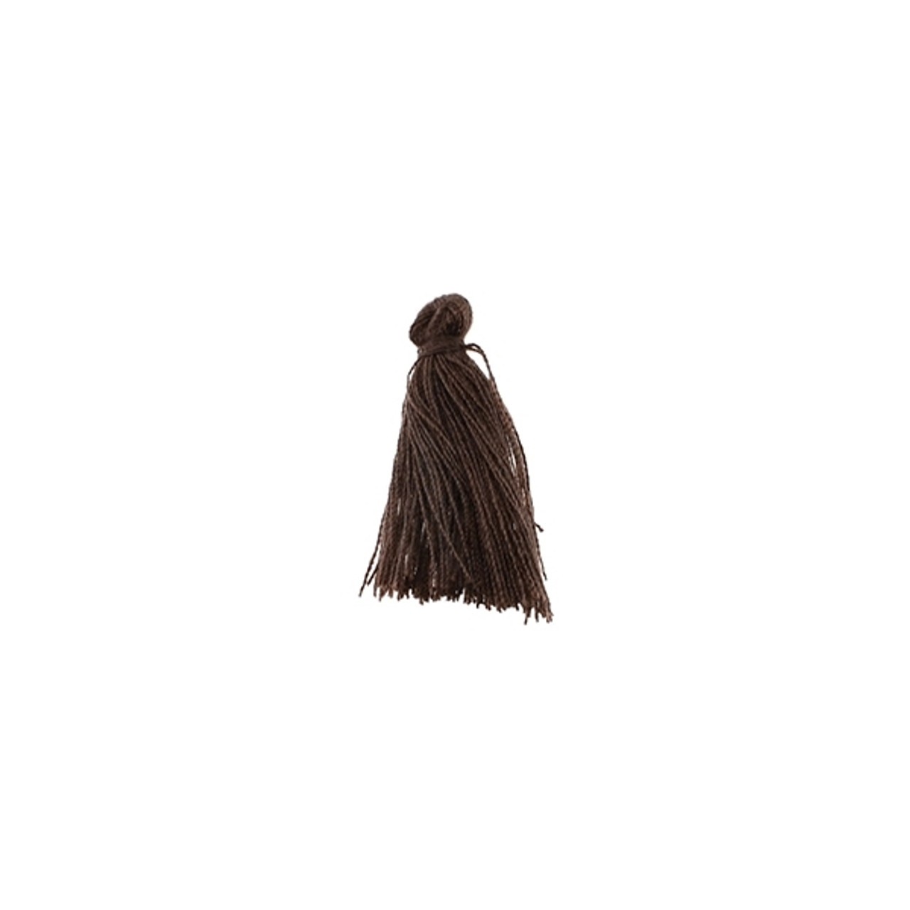 6pcs Mini Brown Thread Tassel with Gold Cap  gold plated cap  cotton tassel  brown  3mm x 15mm  EBRG011-T